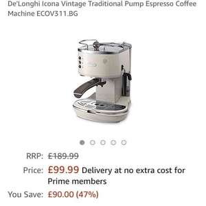 De'Longhi Icona Vintage Traditional Pump Espresso Coffee Machine ECOV311.BG at Amazon for £99.99