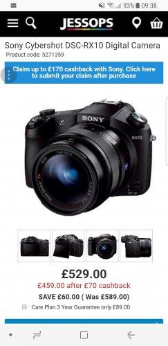 Sony Cybershot DSC-RX10 Digital Camera £529 (£459.00 after £70 cashback) @ Jessops