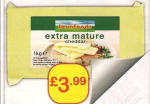 1kg Extra mature Cheddar cheese @ Farmfoods £3.99