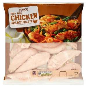 Tesco Skinless and Boneless Mini Chicken Breast Fillets (500g) Frozen) (NO ADDED WATER or SALT) was £3.00 now 3 Packs for £5.00 @ Tesco