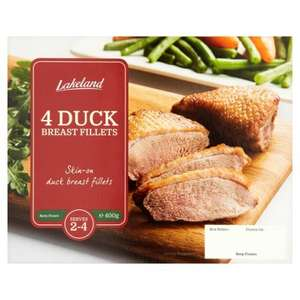 Lakeland Frozen Skin on Duck Breast Fillets (4 = 400g) was £4.00 now 2 packs for £5.00 @ Tesco