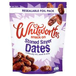 Whitworths Stoned Sayer Dates (300g) was £2.00 now 2 for £2.00 @ Tesco