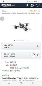 Hubsan X4 H107L RC Quadcopter (H107L, Black+White) £21.62 Sold by Fishingking and Fulfilled by Amazon