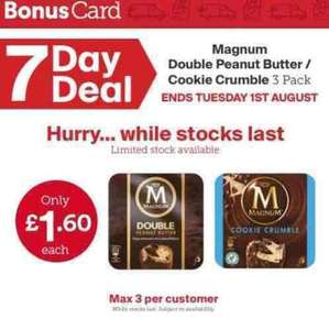 Iceland Magnum 3 pack (Cookie Crumble and Double Peanut Butter Icecream  flavour) only £1.60 instore