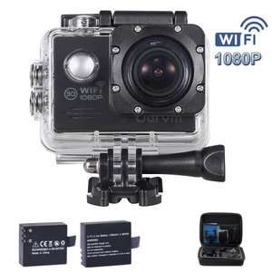 HD 1080P WiFi Action Camera with 2 Free Batteries, Portable Handbag and 19 Accessories Kits for £29.99 Sold by Super AutoCam and Fulfilled by Amazon