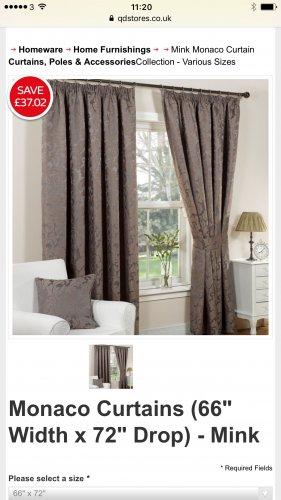 """Monaco Curtains (66"""" Width x 72"""" Drop) - Mink - £17.98 @ QD"""