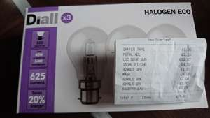 Diall Pack of 3 Halogen bayonet style lightbulbs Clearance price £1 instore B&Q The Fort Cheetham Hill Manchester maybe National