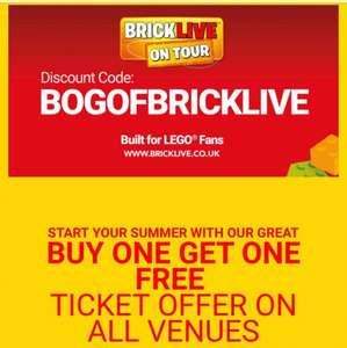 NEC Bricklive BOGOF on ALL tickets inc premium!! £20 each + £1.75pp booking fee