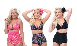 Retro High-Waisted Ruched Bikini sets now £13.98 delivered at Groupon
