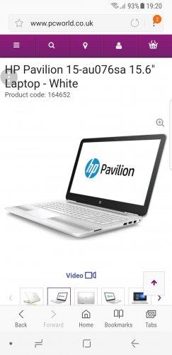 """HPPavilion 15-au076sa 15.6"""" Laptop - White £345 @ PC World"""