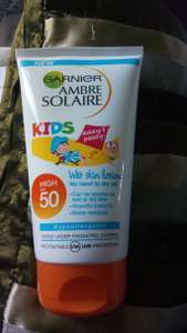 Garnier Amber Solaire Kids SPF50 Suncream at ASDA Winsford reduced from £8 to £2