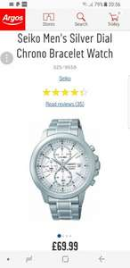 Seiko Men's Silver Dial Chrono Bracelet Watch £69.99 @ Argos