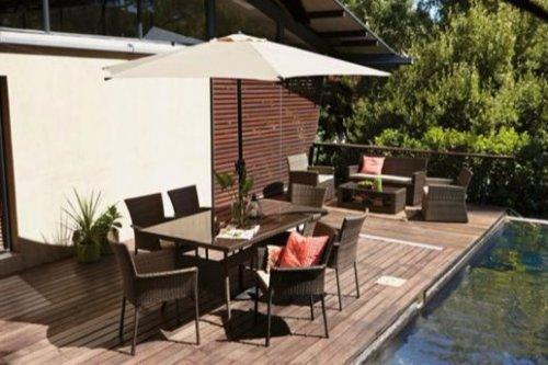 Mali Rattan Effect 6 Seater Garden Furniture Set - Table, 6 chairs + parasol £192.73 - Homebase
