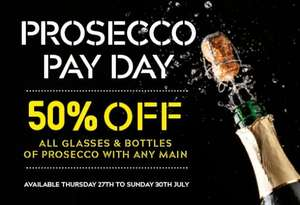 PROSECCO PAY DAY 50% off all glasses & bottles of Prosecco when you buy any main @ Prezzo No Code Required