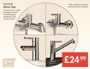 Mixer Tap Assortment £24.99 - LIDL (MIOMARE) - Chrome Finish - 5 Year Warranty