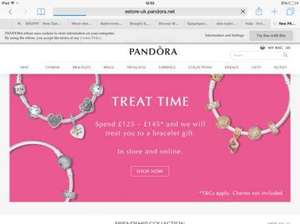 Free Pandora bracelet - choice of 3 with £125 spend, choice of 6 with £145 spend