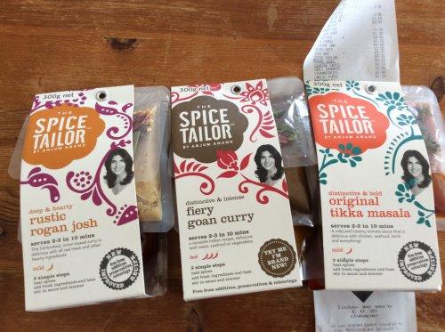 Spice Taylor by Anjum Anad original tikka, fiery goan curry and rustic rojan josh 72p at Tesco