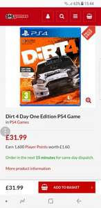 Dirt 4 Day One Edition PS4 Game £31.99 @ 365 games