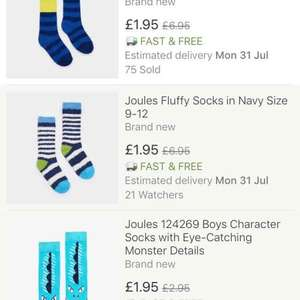 Joules Boys Socks - £1.95 delivered - EBay Joules Outlet