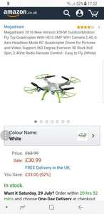 Megadream Drone 2016 New Version X5HW Outdoor&Indoor  WIFI Camera 2.4G 6-Axis Headless Mode £30.99 Sold by New Dream Tech and Fulfilled by Amazon
