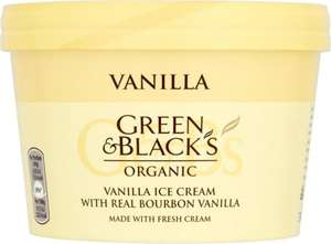 Green & Blacks Organic Vanilla / Chocolate / Chocolate Mint / Vanilla Ice Cream with a Chocolate Sauce / White Chocolate and Raspberry Swirl / Chocolate Orange Ice Cream / Green and Black's Organic Vanilla Caramel Nut Ice Cream (500ml) was £4.20 now
