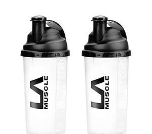 LA Muscle 700ml Shaker -Highest quality, Patented German-Made screw-top, Easy Mixing 1 x pack of 2 for £1.50 or 2 pack of 4 for £2.70 delivered (Prime & Non Prime) @ Amazon