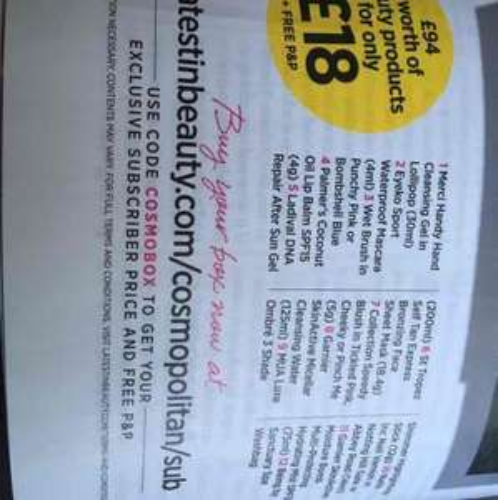 Beauty box promotion in Cosmopolitan magazine £16 @ Latest In Beauty
