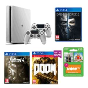 Playstation 4 500GB Limited Edition Console - Silver + Extra Controller + Dishonored 2 + Fallout 4 + DOOM With UAC Pack + NOW TV Entertainment 3 Month Pass £249.99 @ Game