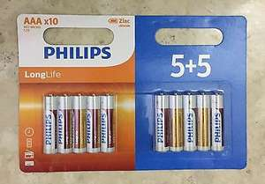 Philips long life batteries AA or AAA 10 pack £1.00 Home Bargains instore