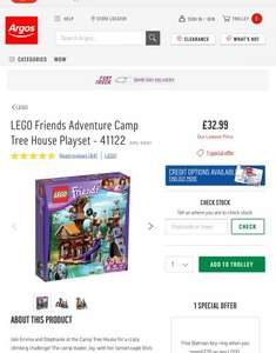 Lego 41122 friends adventure camp tree house £32.99 argos