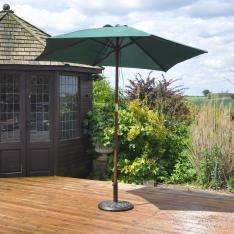 2.4m Wooden Green Parasol –  now £19.54 using code with Free C&C at Robert Dyas