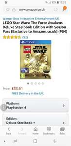 LEGO Star Wars: The Force Awakens Deluxe Steelbook Edition with Season Pass £33.61 (Exclusive to Amazon.co.uk) (PS4)