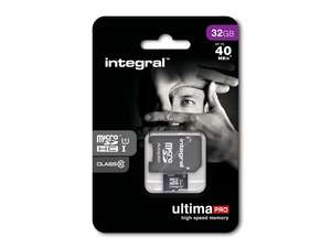 Integral Micro SD SDHC Memory Card 40MB/s Class 10 (incl Full Size SD Adapter)  - 32GB  ***TWIN PACK***  £19.99 from 7DayShop, FREE DELIVERY