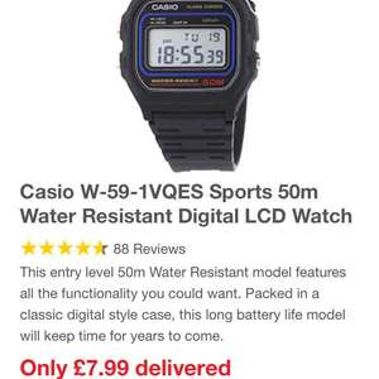 Casio waterproof watch £7.99 @ 7day shop