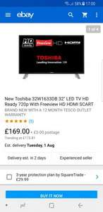 "New Toshiba 32W1633DB 32"" LED TV HD Ready 720p With Freeview HD HDMI SCART £169 - £172 delivered @ Tesco / Ebay"