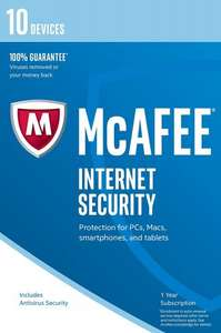 McAfee 2017 Internet Security - 10 Device (PC/Mac/Android) -1 year subscription - £8.97 prime / £10.96 non prime Sold by Tenzy and Fulfilled by Amazon