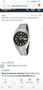 SEIKO SNXS79K - 5 Gent Men's Automatic Analogue Watch, Black Dial, Steel Bracelet Grey £51.67 - Now £49.70 @ Amazon