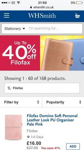 Upto 40% off Filofax items at WH Smith's free C&C