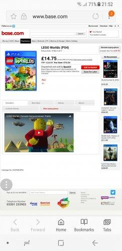 LEGO WORLDS PS4 - £14.75 @ Base.com