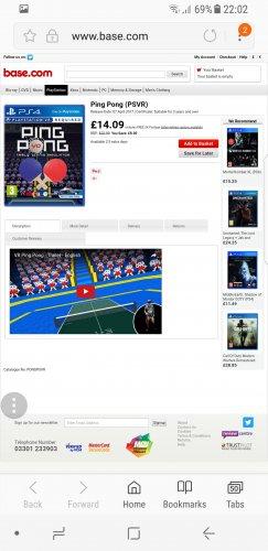 PING PONG VR PS4 - £14.09 @ Base.com