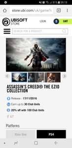 Assassins Creed ezio collection ps4 (Ubisoft store) - £14.99 - £23.98 Delivered