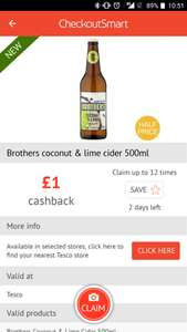 3 bottles of brothers cider for £2.25. £5.25 less £3 cashback via checkout smart app