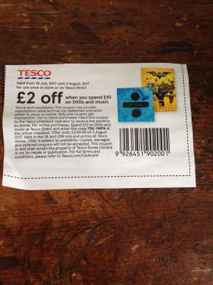 Tesco £2 off when you spend £10 on DVD and music instore & online