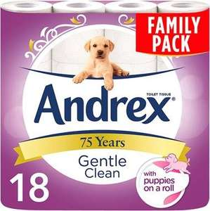 Andrex Gentle Clean 18 pack for just £5! Found @ Budgens (Bidford on Avon)