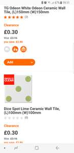 B and Q tiles 30p a pack of 25 in-store