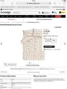 Reduced Asda Butterfly Duvet Sets from £4.50 (online)