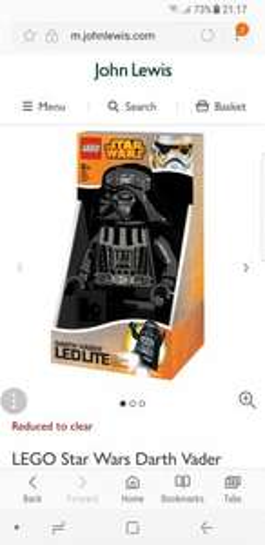LEGO Star Wars Darth Vader LED Torch £10 @ John Lewis
