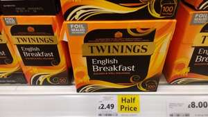 1/2 price, Twining English Breakfast 100 Teabags £2.49 @ Tesco