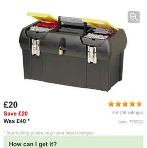 "Stanley toolboxes @ Halfords. Reduced to half price and further 20% off with code ie 12.5""  now £4"