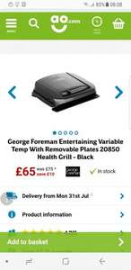 George Foreman Entertaining Variable Temp With Removable Plates 20850 Health Grill - Black £65 @ AO